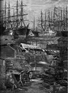 """Collage depicting ships piled into Yerba Buena cove by Satty, from """"Visions of Frisco"""" edited by Walter Medeiros, Regent Press 2007."""