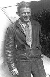 Corrigan beside his jerry-built aircraft