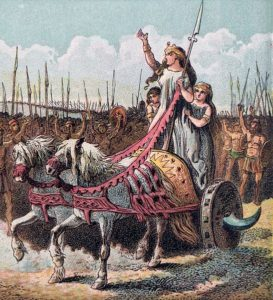 Boadicea, leader of the rebellion against the Romans, 1868