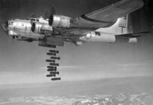 A U.S. Army Air Force Boeing B-17G-50-VE Flying Fortress dropping bombs in WW2.