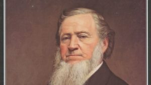 Brigham Young, President of the Church of Jesus Christ of Latter-day Saints, as drawn in 1879 by George A. Crofutt.