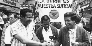 Julio Hernandez (left), Larry Itliong (center), and Ceasar Chavez (right) at the Huelga Day March in San Francisco, 1966.