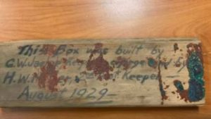 Workers spotted an old wooden box with the names G.W. Jaehne and H. W. Miller — the lighthouse keeper in charge and second assistant.