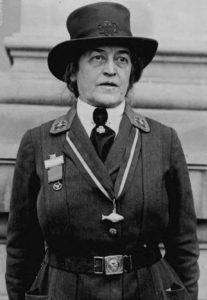 Photo of Juliette Gordon Low in uniform at the 1923 Girl Scout Convention in Washington DC.