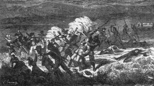 A drawing of the Mountain Meadows Massacre, showing Paiutes attacking the settlers, circa 19th century.