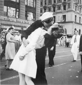 The Kissing Sailor, George Mendonsa, seen here in a slightly different picture from the image that made Life magazine, has died. He was 95.