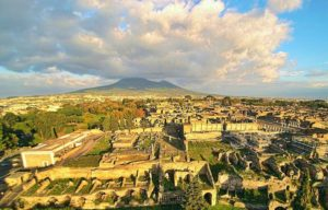 Mt. Vesuvius looms over the ruins of Pompeii nearly 2,000 years after its catastrophic eruption.