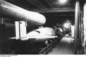 V-1 cruise missile assembly line at the Mittelwerk II underground facility.