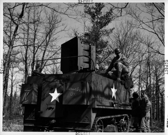 """A Ghost Army halftrack with a speaker mounted on the back for """"sonic deception"""""""