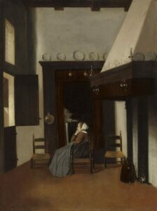 The Little Nurse by Jacob Vrel shows a woman reading in a box bed with a companion looking out the window