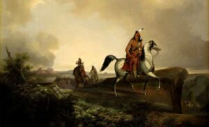 An oil painting by John Stanley depicting Native Americans hunting, 2013.