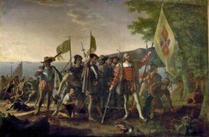 """""""Landing of Columbus"""" by John Vanderlyn (1847)."""