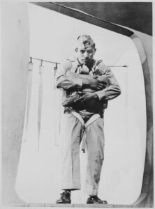 Ira Hayes at the Marine parachute school in 1942.
