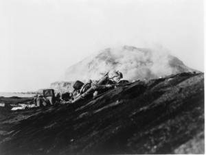 Marines landing on Iwo Jima.