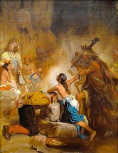 'John Smith Saved by Pocahontas' by Alonzo Chappel, circa 1865, based off his wood carving from 1861, currently on display in the Art Museum of Western Virginia.