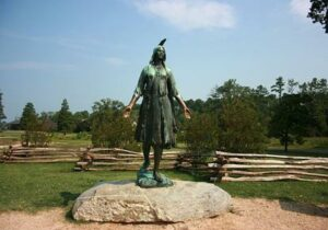 Statue of 'Pocahontas' in Historic Jamestowne, Virginia, USA. But does the commemorative statue honor her real life?