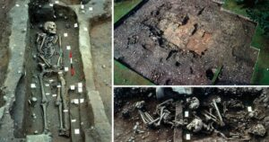 The archaeological finding in Derbyshire 1980s. With the radiocarbon method, the archaeologists concluded that this grave might belong to the Viking Great Army who wintered in Repton, Derbyshire around the 870s AD