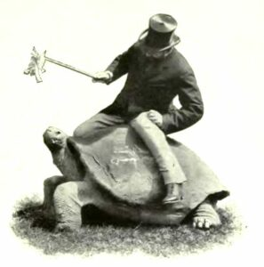 Lord Rothschild on a giant tortoise