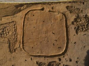 The Bronze age weapons were discovered within an ancient square enclosure
