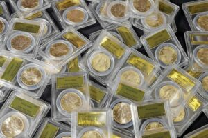 A California couple found 1,427 Gold-Rush era U.S. gold coins in theior yard when they were out walking their dog last year. The collection — valued at $11 million — is now on sale.