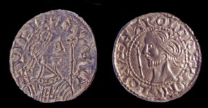 William the Conqueror (left) and Harold II coins. Photo by Pippa Pearce. Copyright the Trustees of the British Museum.