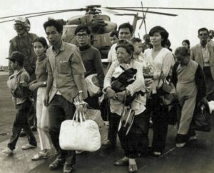 South Vietnamese refugees arrive on a U.S. Navy vessel during Operation Frequent Wind.
