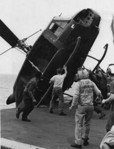 The helicopter, which carried two Vietnamese officers, a woman, and two children, had to be disposed of to make room for the extensive Marine Corps helicopter operation helping to evacuate the city of Saigon.