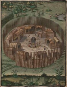 Artists impression of a Native American fort.