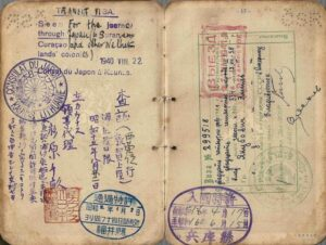 1940 issued visa by consul Sugihara in Lithuania, showing a journey taken through the Soviet Union, Tsuruga, and Curaçao.