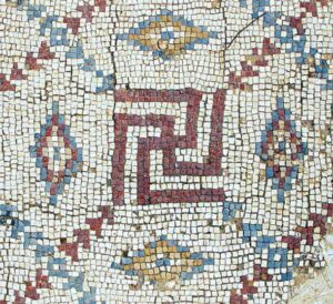 Mosaic swastika in excavated Byzantine church in Shavei Tzion (Israel).