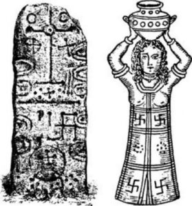 The swastika, the Phoenician sun symbol, on the Phoenician Craig-Narget stone in Scotland, and on the robe of a Phoenician high priestess.