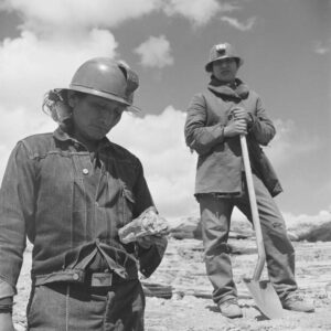 Two Navajo people prospect for uranium on the Navajo Nation reservation. 1951.