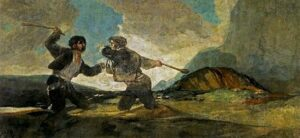 Fight with Cudgels' (1819-1823) by Francisco de Goya.