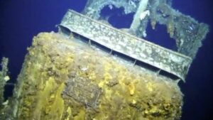 A plaque on the front of the wreckage identifies the submarine as the USS Grayback