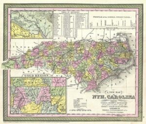 """An 1847 map of North Carolina showing the """"Gold Region."""""""