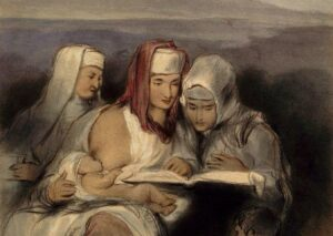 Three Hebrew women, seated, reading the Scriptures; one of them breastfeeding, painting by David Wilkie.