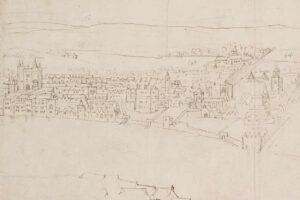 The area around the Strand as seen from Southwark in around 1543, from a drawing by Anthonis van den Wijngaerde