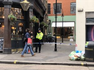 Police had initially lifted the cordon in Soho but blocked part of the area off again on Tuesday.