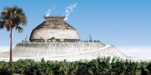 Atop a 30-foot-high shell mound, the Calusa constructed an expansive manor capable of holding 2,000 people, according to Spanish records. Fish stored in Mound Key's watercourts may have provided the food resources needed to complete the project.