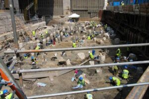 An aerial view of MOLA archaeologists excavating at Principal Place in Shoreditch - the site of the new Amazon HQ