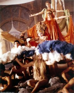 The erotic film, which features hardcore sex scenes, depicted Caligula as being an extravagant and sex-crazed lunatic. Pictured is Helen Mirren as Caesonia