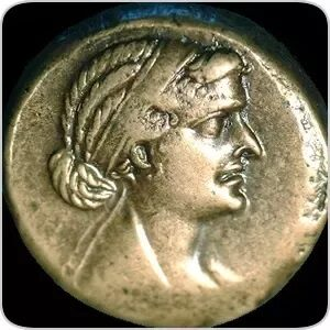 A coin with the head of Cleopatra, Egypt. Ancient Egyptian. Graeco Roman period c 51 30 BC.