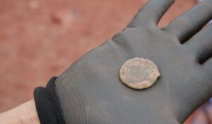A coin found at the excavation site (Exeter City Council)