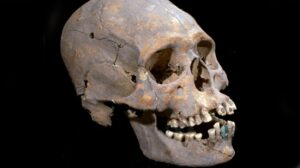 Archeologists who found the 1,600-year-old skeleton near Mexico's ancient Teotihuacan said the woman was 35-40 when she died with intentionally deformed skull and teeth encrusted with mineral stones