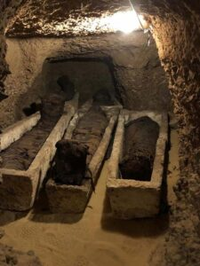 Some of the mummies were found inside stone sarcophagi.