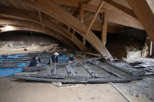 Archaeologists look at 9 metre-long front section of a wooden Roman ship dated to the 3rd century AD, at the ancient city of Viminacium, Serbia