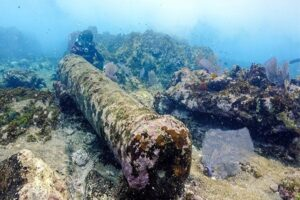 Underwater archaeologists said the currents where the cannon was found were strong