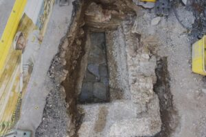 The Roman bath as uncovered at the building site in Baden