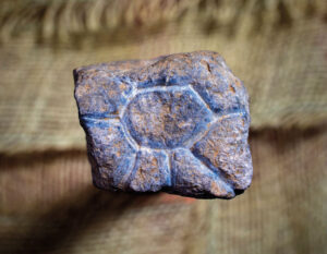 A roughly 20,000-year-old engraved, pocket-sized rock that may depict a sun, eye or flower