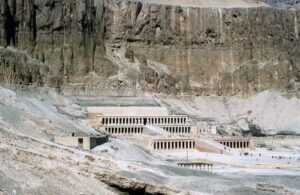 Mortuary temple of Queen Hatshepsut, Dayr al-Bahri, Egypt, c1457 BC. Archaeologists announced the discovery of a stone chest and a bundle in Dayr al-Bahri that could lead to the discovery of a royal temple